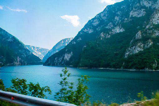 Piva Lake, Montenegro, Beautiful, Mountain, View, Water