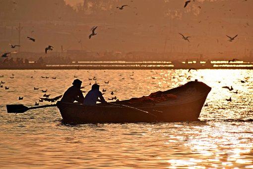 Sunset, River, Boat, Birds, Landscape, Water, Dusk