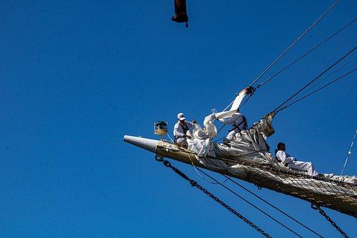 Sailors, Bovspyd, Sails, Blue, Sky, White, Summer, Boat