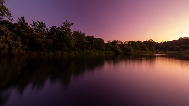 Sunset, River, Miño, Landscape, Nature, Dawn, Sun