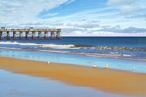 Flagler Beach, Beach, Florida, Ocean, Sky, Clouds