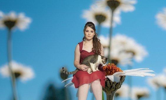 Cat, Girl, Woman, Beautiful, Portrait, Feeling, Animals