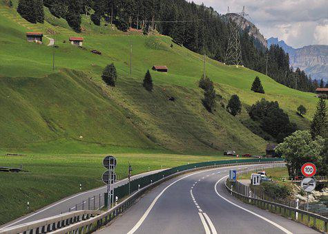 Highway, Asphalt, Hill, Mountain, The Side Of The Road