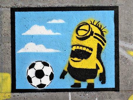Mural, Minoins, Laugh, Image, Color, Ball, Football