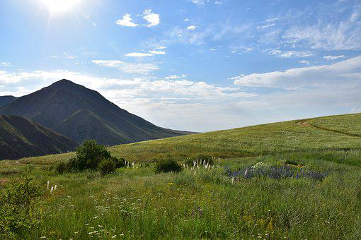 Land, Mountain, Field, Sky, Mountains, Nature