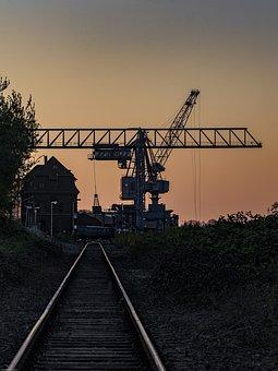 Crane, Rails, Port, Industry, Old, Loading, Cargo, Work