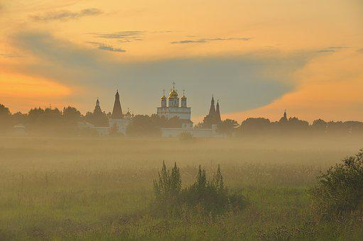 Summer, Monastery, Fog, Landscape, Flora, Herbs, Temple