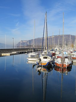 France, Lake, Aix Les Bains, Nature, Boats, Water