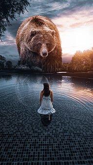 Bear, Girl, Water, Photoshop, Light, Picsart, Sky