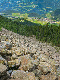 Rubble Field, Landslide, Protection Forest, Risk