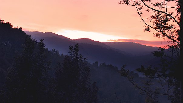 Sunset, Landscape, Hills, Evening