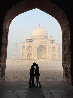 Taj Mahal, Silhouette, Love, India, Agra, Tajmahal