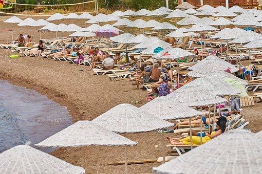 Beach, Umbrella, Tourism, Tourist, People, Sunbathing