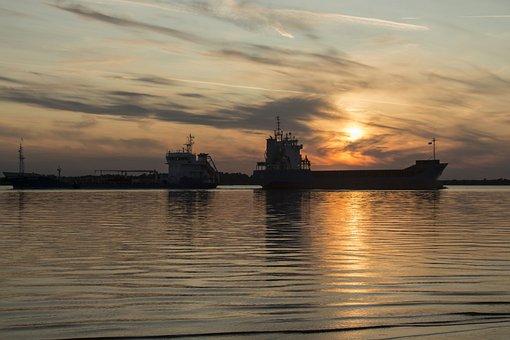 Ships, Ship, River, Sunset, Water, Travel, Transport