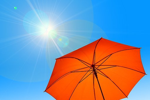 Parasol, Umbrella, Sun, Sky, Blue, Hot, Heat