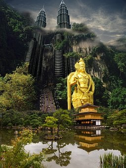 Background, Landscape, Skyscraper, China, Water, Wood