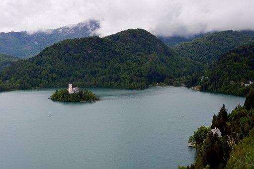 Slovenia, Lake Bled, Church, Water, Travel, Castle