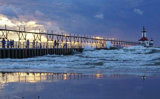 North Pier, Lake Michigan, Surf, Saint Joseph, Waves