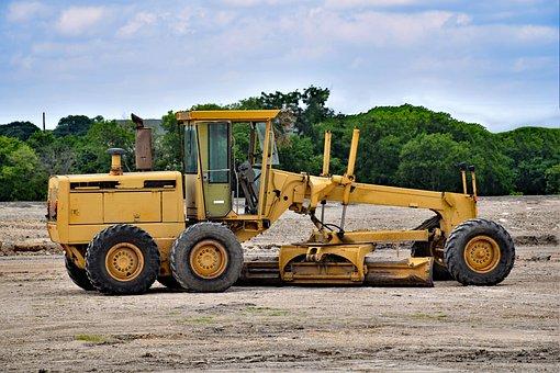 Grader, Machinery, Construction, Yellow, Heavy, Road