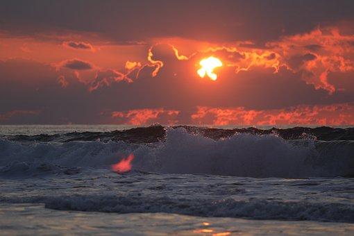 Sea, Sunset, Beach, Sky, Water, Sunrise, Nature