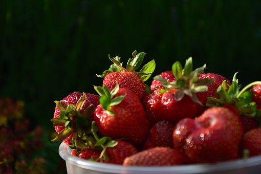 Strawberries, Bowl, Fruit, Fresh, Healthy, Vitamins