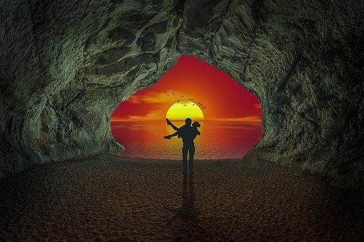 Manipulation, Sunset, Cave, Italy, Sky, Sea, Silhouette