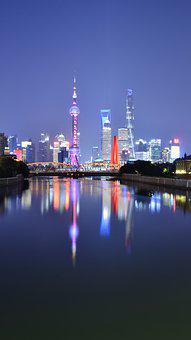 Shanghai, Urban, Night, Cityscape, Skyscrapers, Skyline
