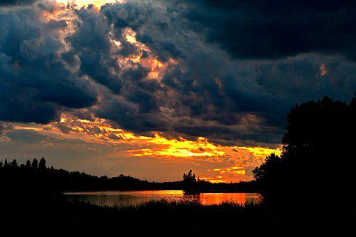 Sunset, Landscape, Nature, Clouds, Orange, Scenic