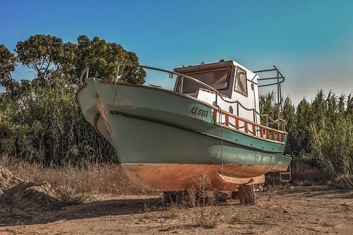 Boat, Grounded, Fishing Boat, Wooden, Ayia Triada