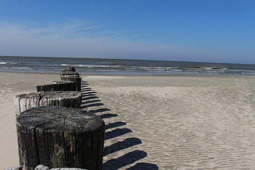 Beach, Ameland, Hollum, Piles, Sea, Sand