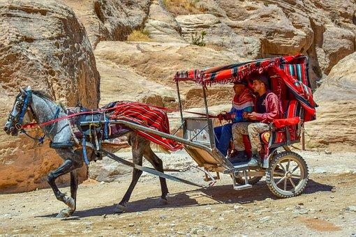 Coach, Carriage, Al Siq Canyon, Horse, Transport, Wagon