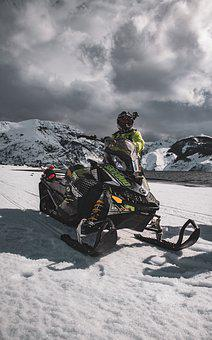 Skidoo, Snow, Snowmobile, Vehicle, Lake, Motorsport