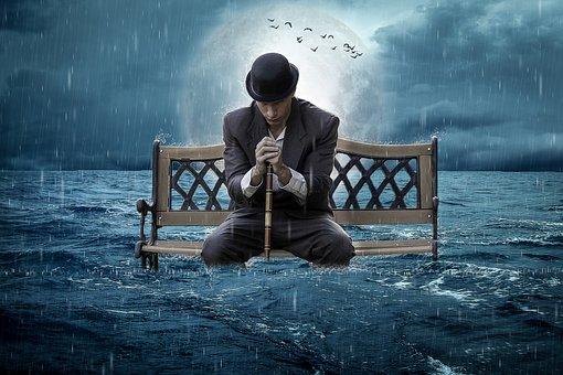 Manipulation, Bench, Ocean, Rain, Man, Moon, Birds