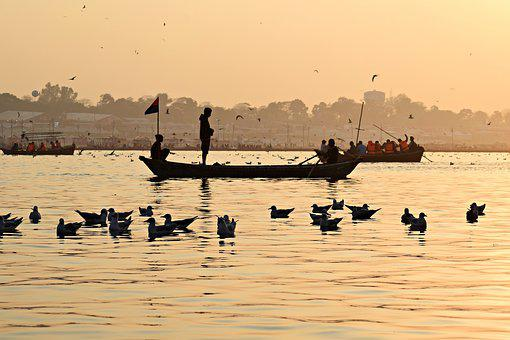 River, Ganga, Pragraj, India, Nature, Ghat, Boat