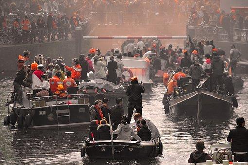 Amsterdam, Kingsday, Orange, Town, City, Netherlands