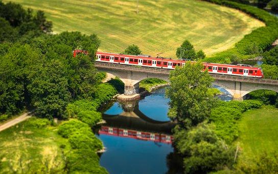 Train, Bridge, River, Railway, Railway Bridge, Rails