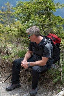 Rest, Break, Hiking, Nature, Sit, Human, Man, Click
