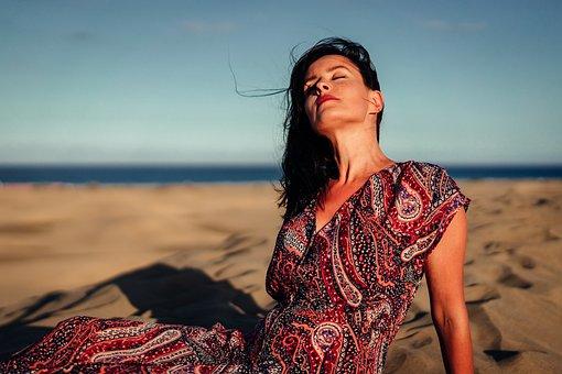 Woman, Spain, Spanish, Maspalomas, Sand, Sunset, Female