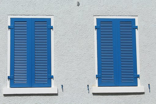 The Window, Shutters, Blue, Building, Architecture