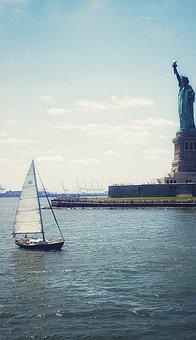 New York City, Statue Of Liberty, Boat, Summer