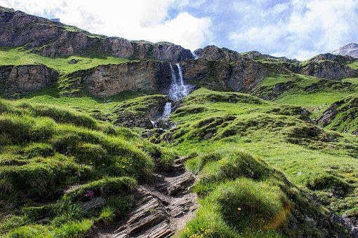 Waterfall, Green, Mountain, Nature, Water, Landscape