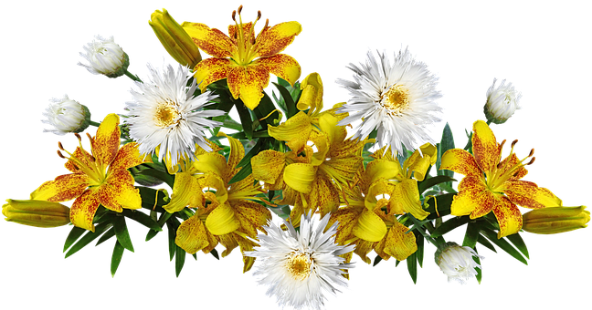 Flowers, Yellow, Fragrant, Lilies, Daisies, Arrangement