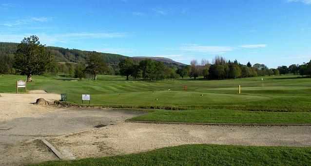 Scottish Golf Course, Landscape, Sky, Clouds, Grass