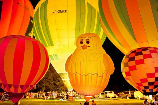 Hot Air Balloon, Night Glow, Drive, Balloon, Float