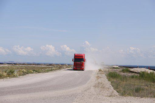 Transport, Truck, Dust Cloud, Vehicle, Road, Delivery