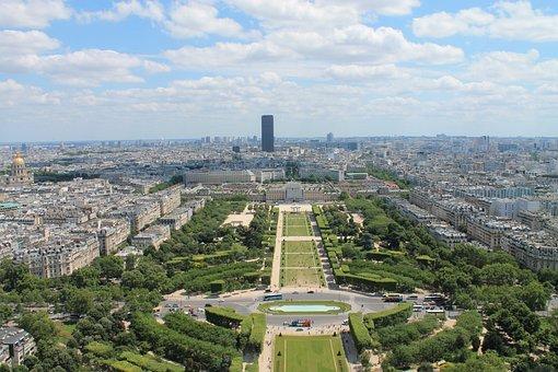 Paris, Eiffel Tower, Height, Sky, Clouds, Green
