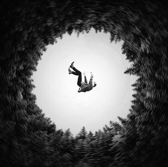 Falling, Male, Trees, Blur, Suicide, Silhouette, Fear