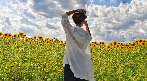 Girl, Field, Model, Short Hair, White Shirt, Hands
