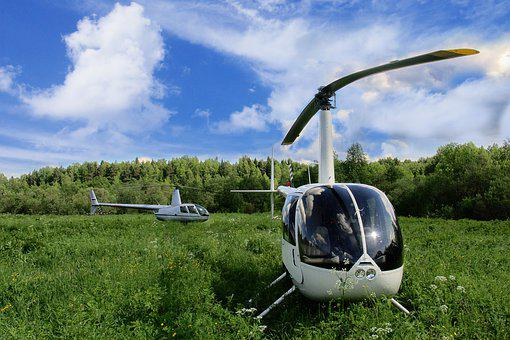 Helicopters, Helicopter, Field, Glade, Vacation