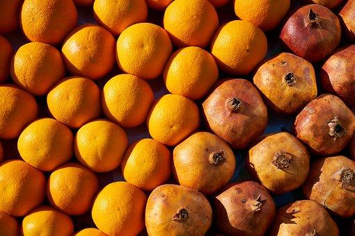 Orange, Pomegranate, Market, Diet, Nature, Food, Citrus